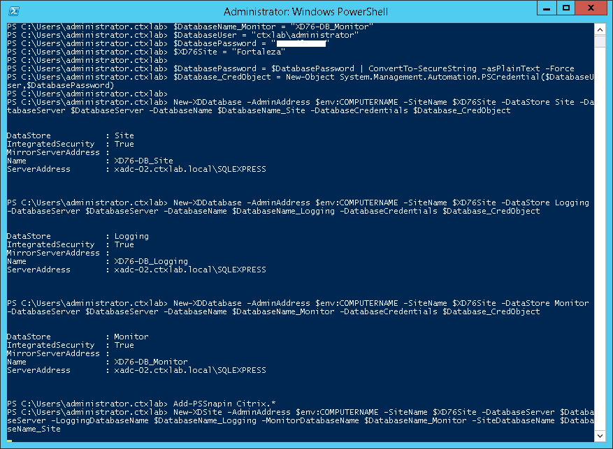 Configure XenDesktop Site with Powershell Unattended