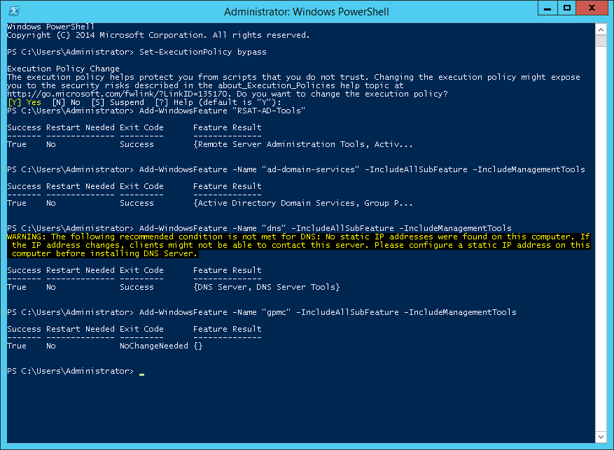 Install Domain Controller using PowerShell